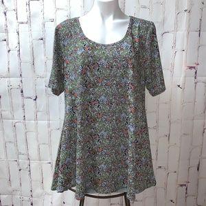 LuLaRoe Perfect T Shirt Top Floral Vines XL NWOT